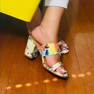 Tropical floral block heel sandals mules by bamboo